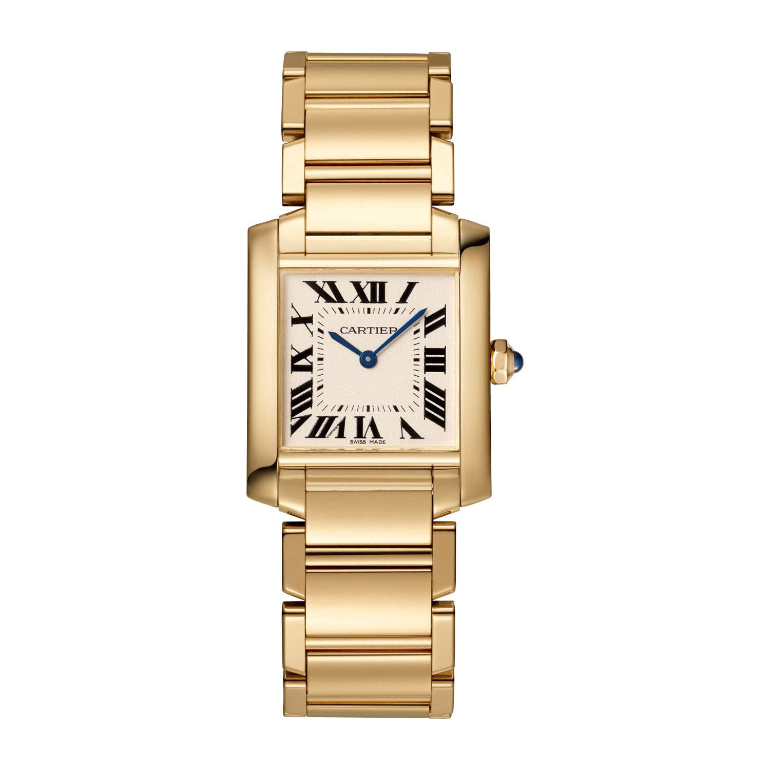 Cartier Tank Francaise 30mm 18ct Yellow Gold Case Bracelet Silver Dial Watch