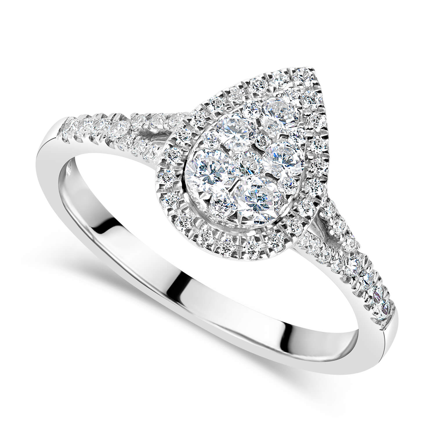 Platinum 0.50ct Diamond Pear Cluster Split Shoulders Ring