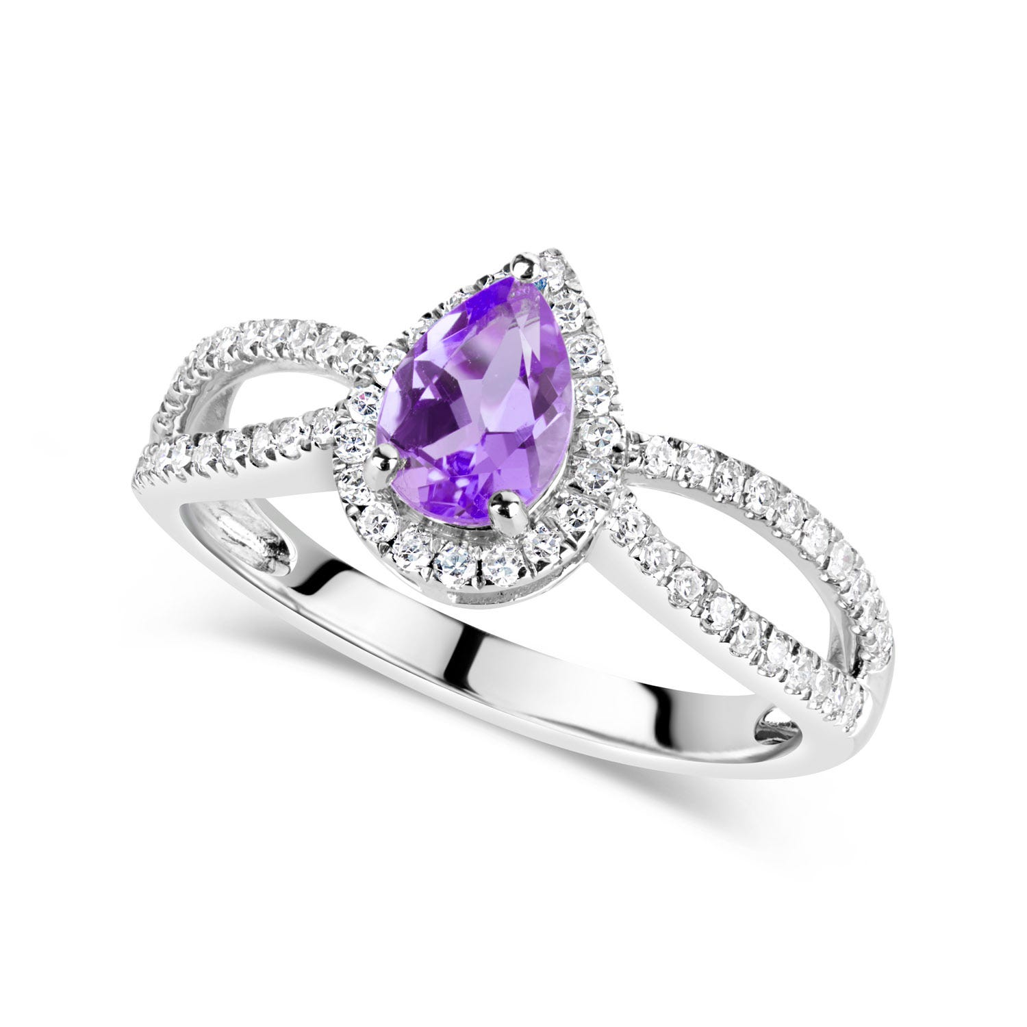 9ct White Gold 0.30ct Diamond and Amethyst Pear Cut Halo Ring
