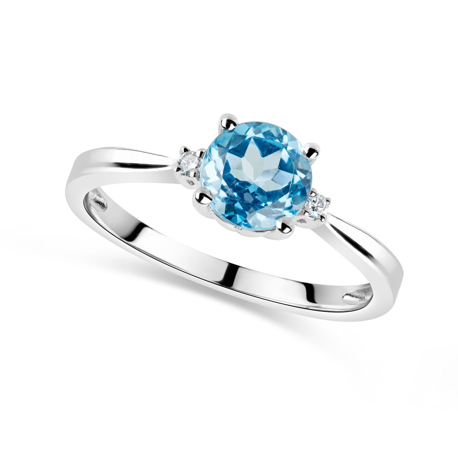 9ct White Gold Diamond and Blue Topaz Round Ring