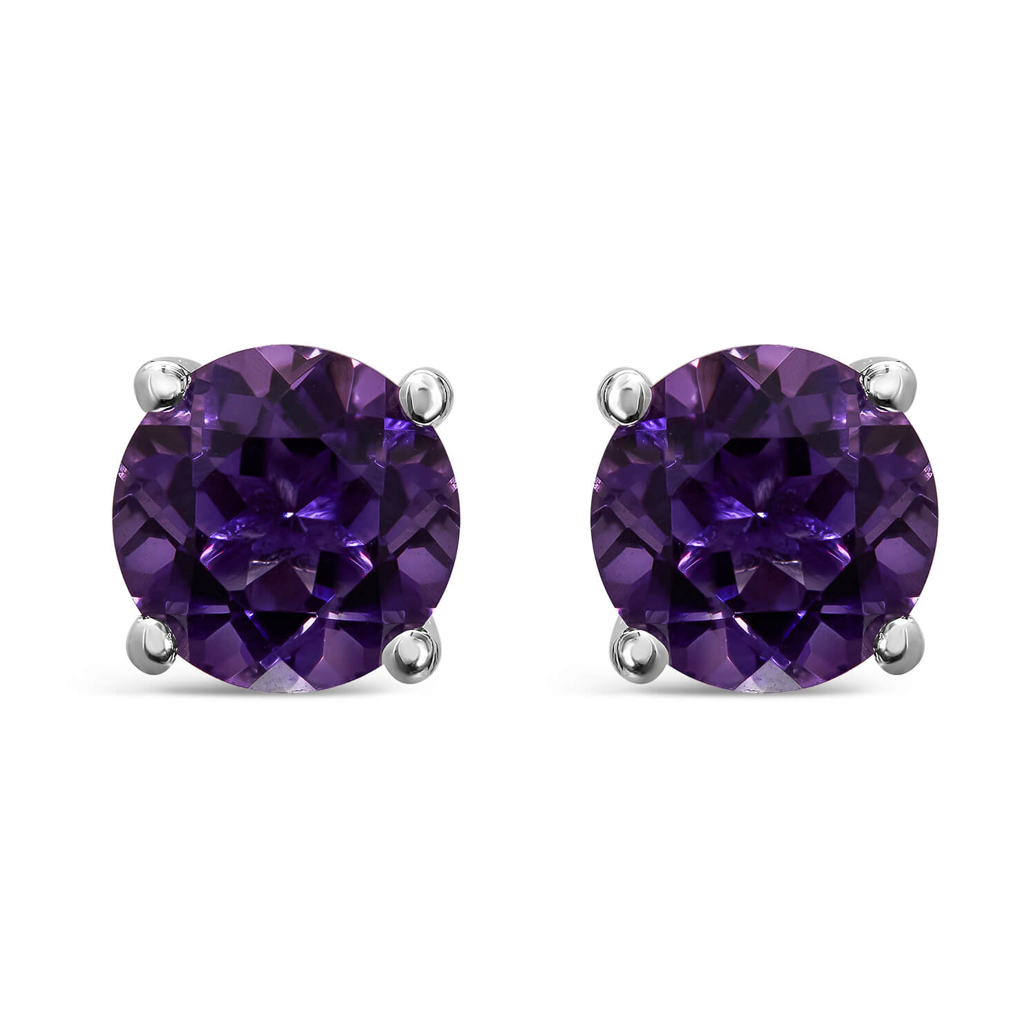 9ct White Gold Amethyst Claw Round Ladies Stud Earrings