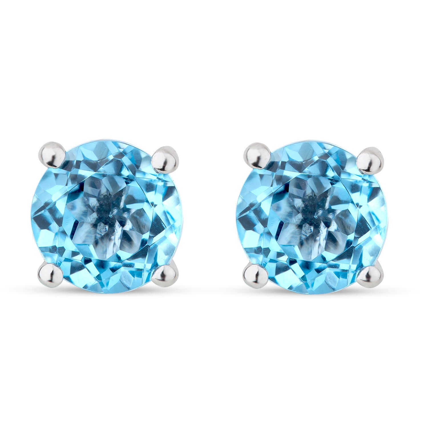 9ct White Gold Blue Topaz Claw Round Ladies Stud Earrings