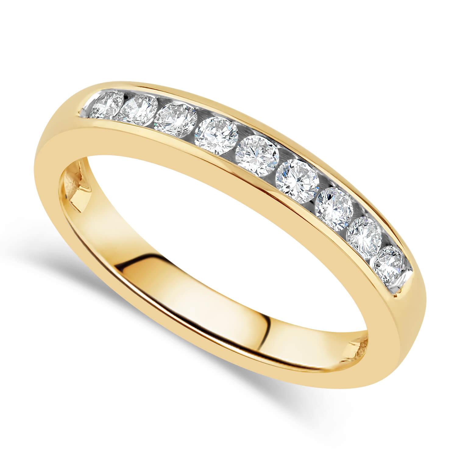 9ct Yellow Gold 0.25ct Diamond Nine Stone Channel Ring