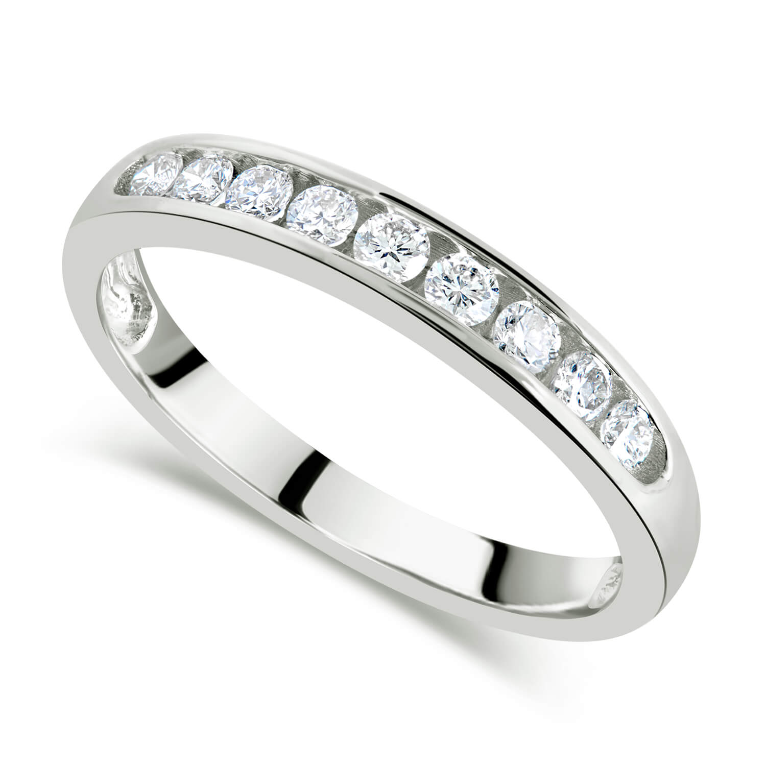 9ct White Gold 0.33ct Nine Stone Channel Ring