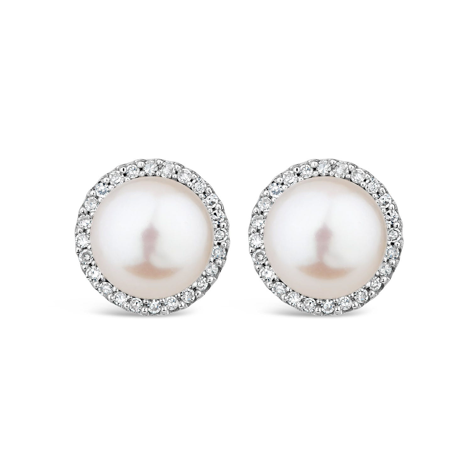 9ct White Gold Diamond & Pearl Halo Stud Earrings