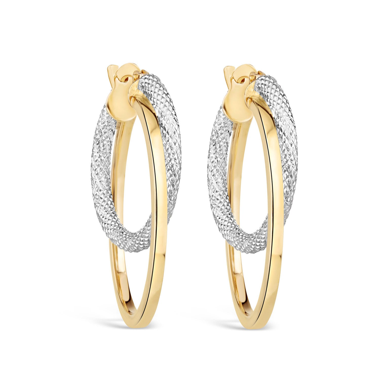 9ct Two-Tone Gold Twist Double Hoop Earrings