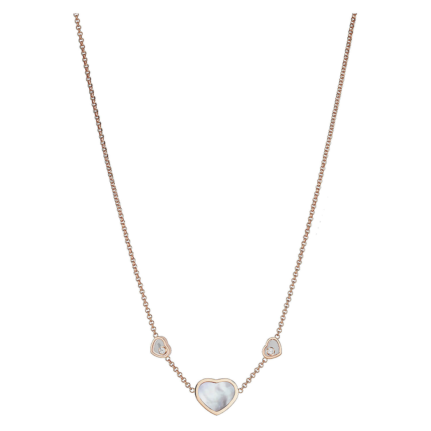Chopard Ladies Happy Hearts Mother of Pearl 3 Heart Diamond Sautoir Necklace