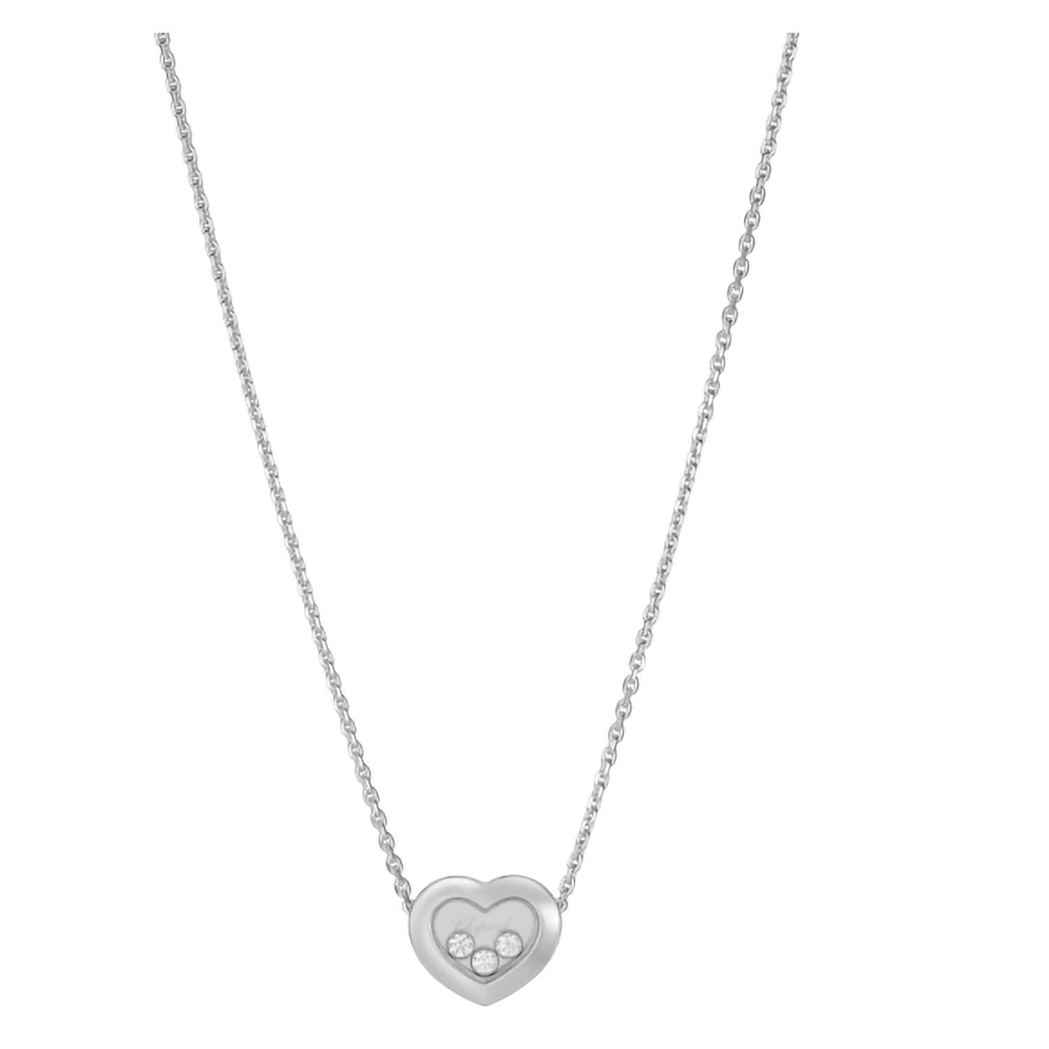 Chopard Ladies Happy Diamonds 18ct White Gold 3 Diamonds in a Heart Necklace