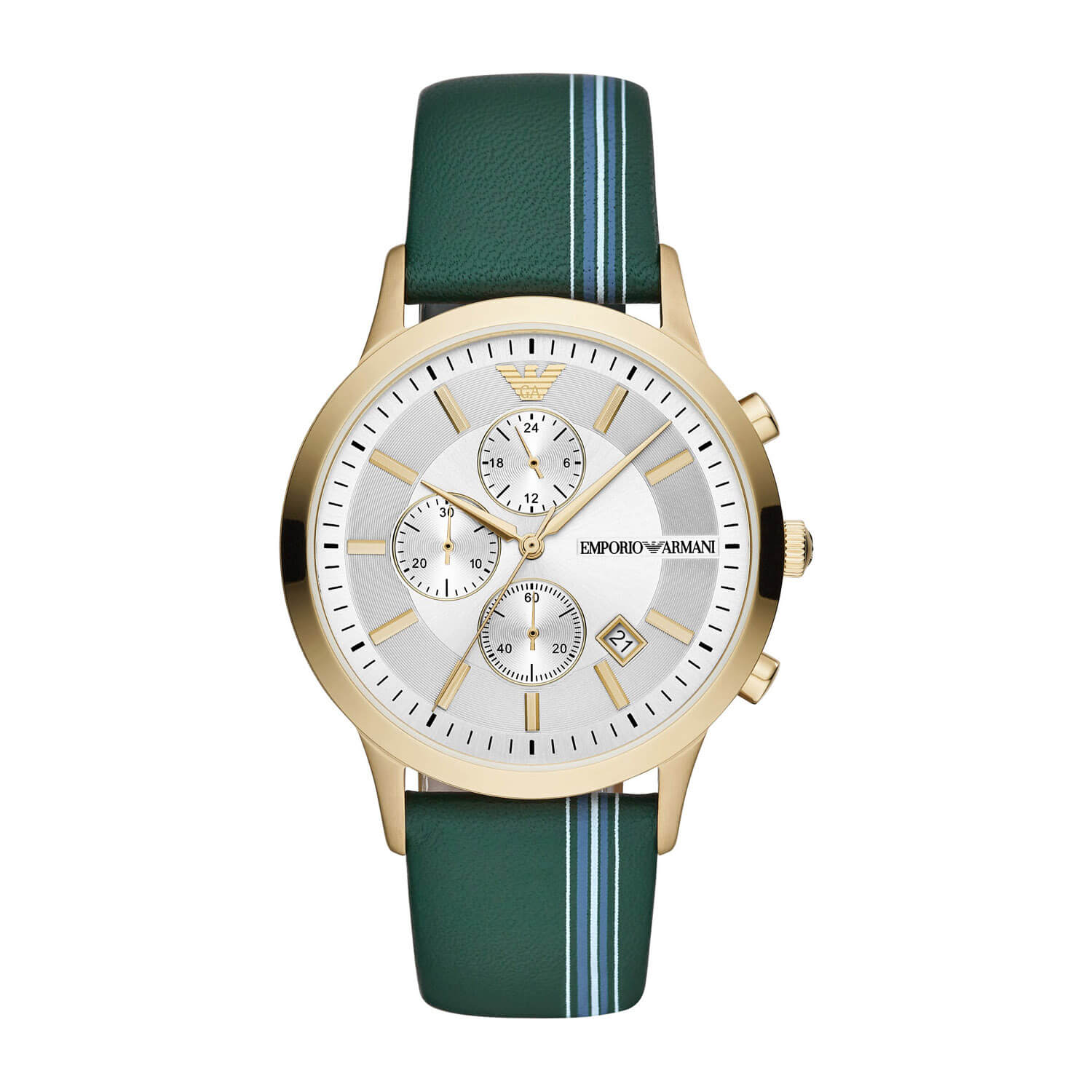 Emporio Armani Yellow Gold PVD Case & Green Leather 43mm Watch