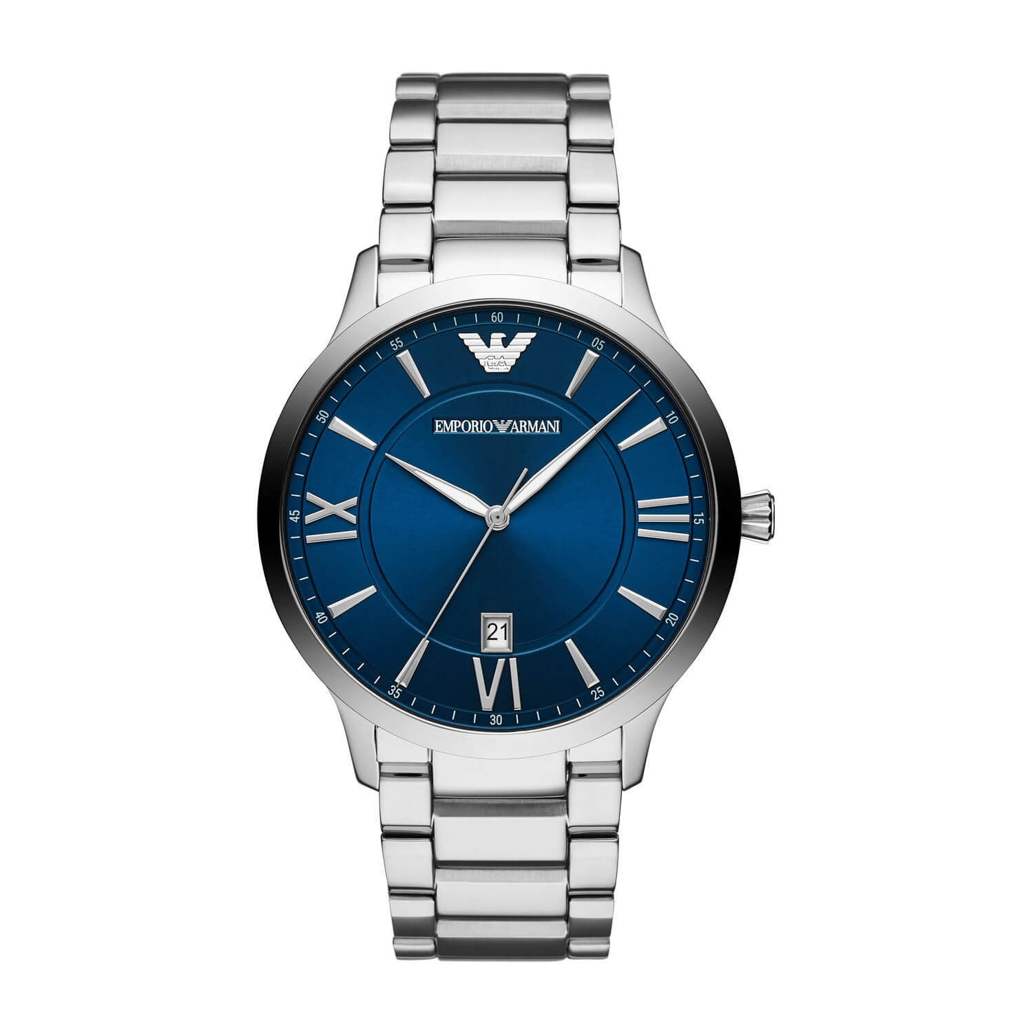 Emporio Armani Blue Dial & Stainless Steel 44mm Watch