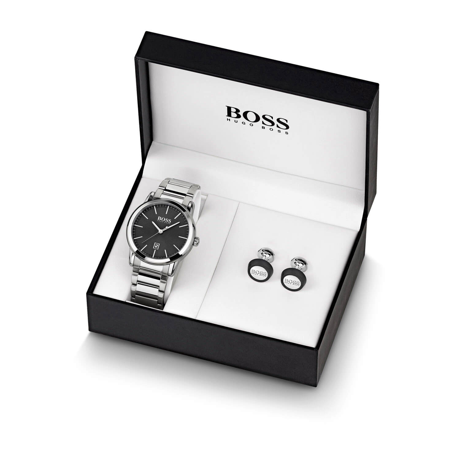 Hugo Boss Black Dial & Stainless Steel Bracelet Watch & Cufflinks Gift Set