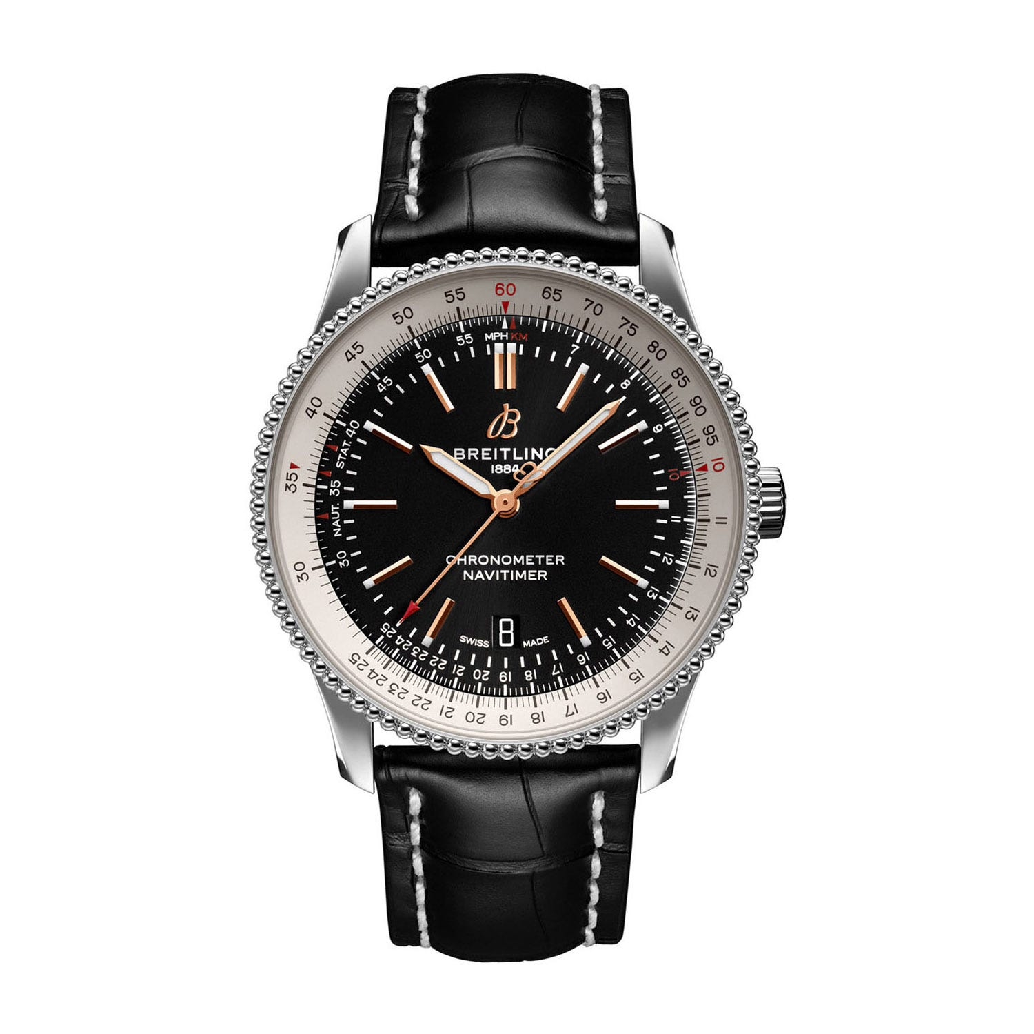 Breitling Navitimer 1 Automatic Black Dial & Leather 41mm Men's Watch