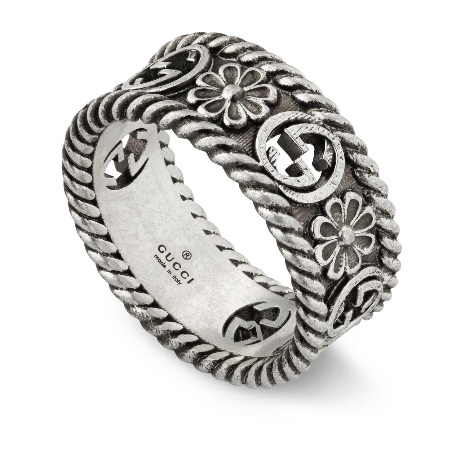 Gucci Marmont Interlocking G Flower Motif Sterling Silver Ring