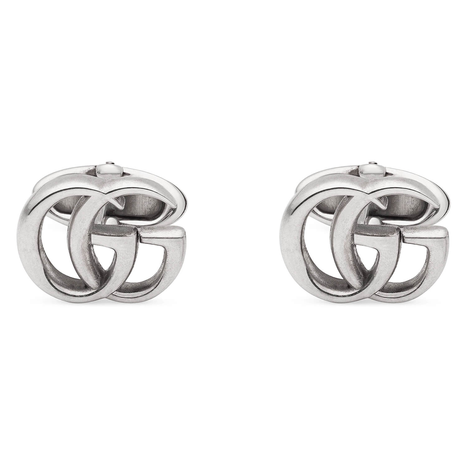 Gucci Marmont Double G Motif Stirling Silver Cufflinks