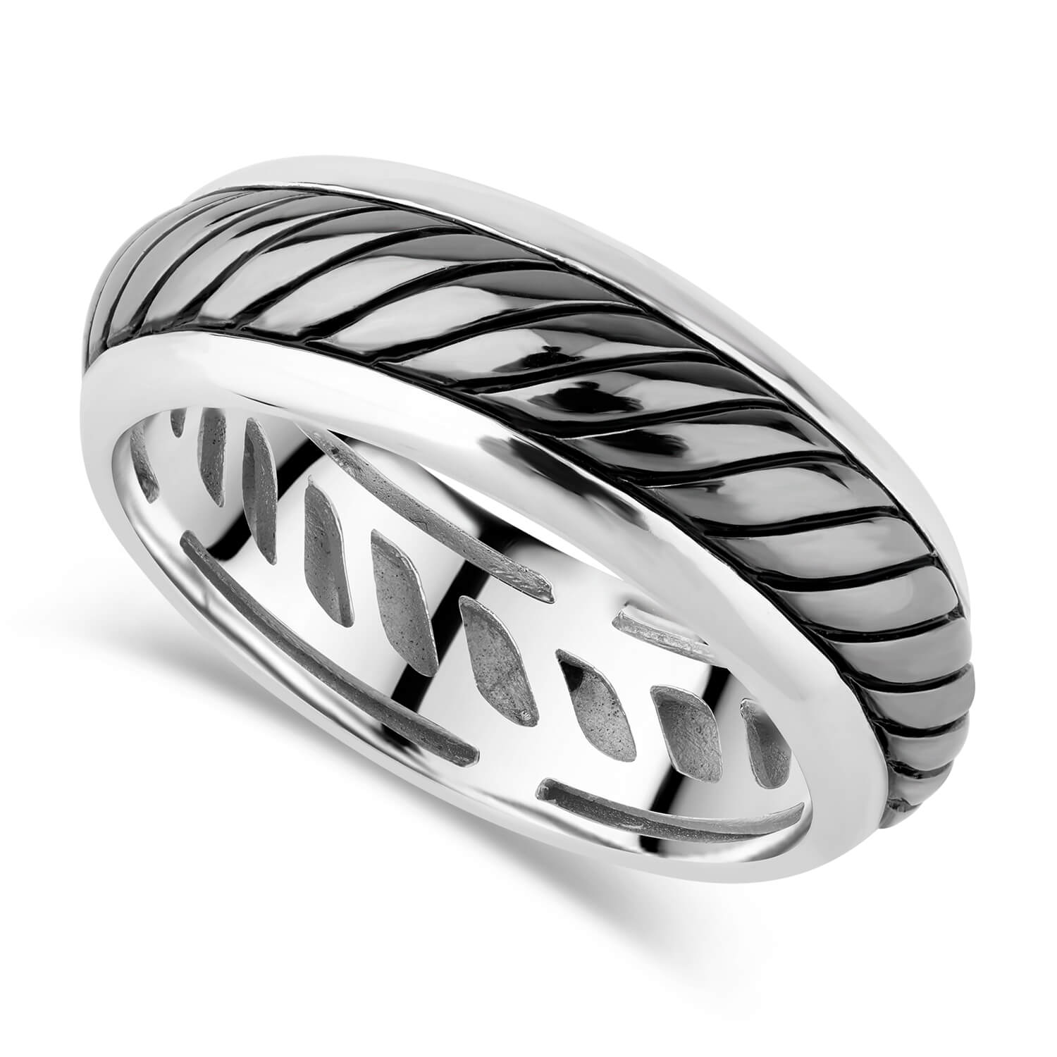 Gents Sterling Silver Oxidised Twist Band
