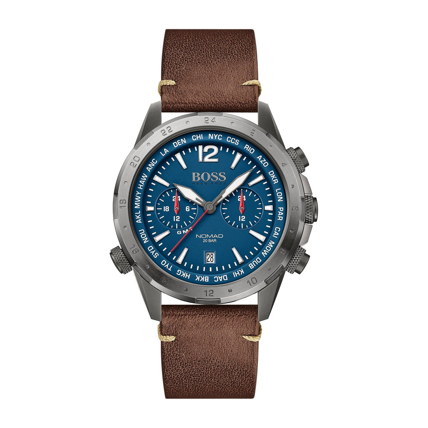 Hugo Boss Nomad Chronograph Blue Dial & Brown Leather Men's Watch