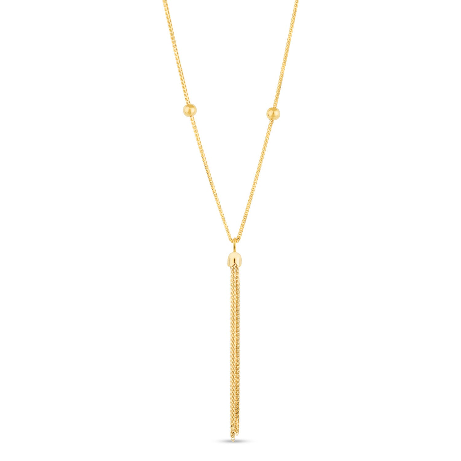 9ct Yellow Gold Box Chain Polished Bead Tassel Necklet