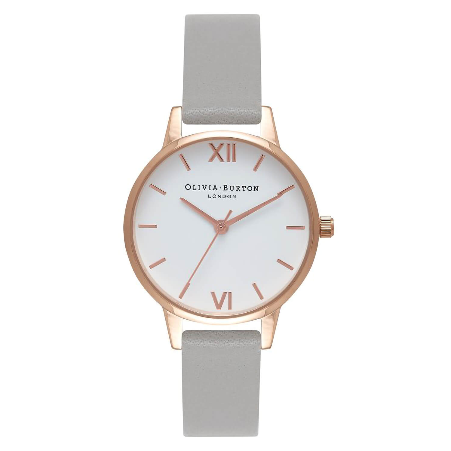 Olivia Burton White Dial Rose Gold-Toned Grey Leather Strap Ladies Watch