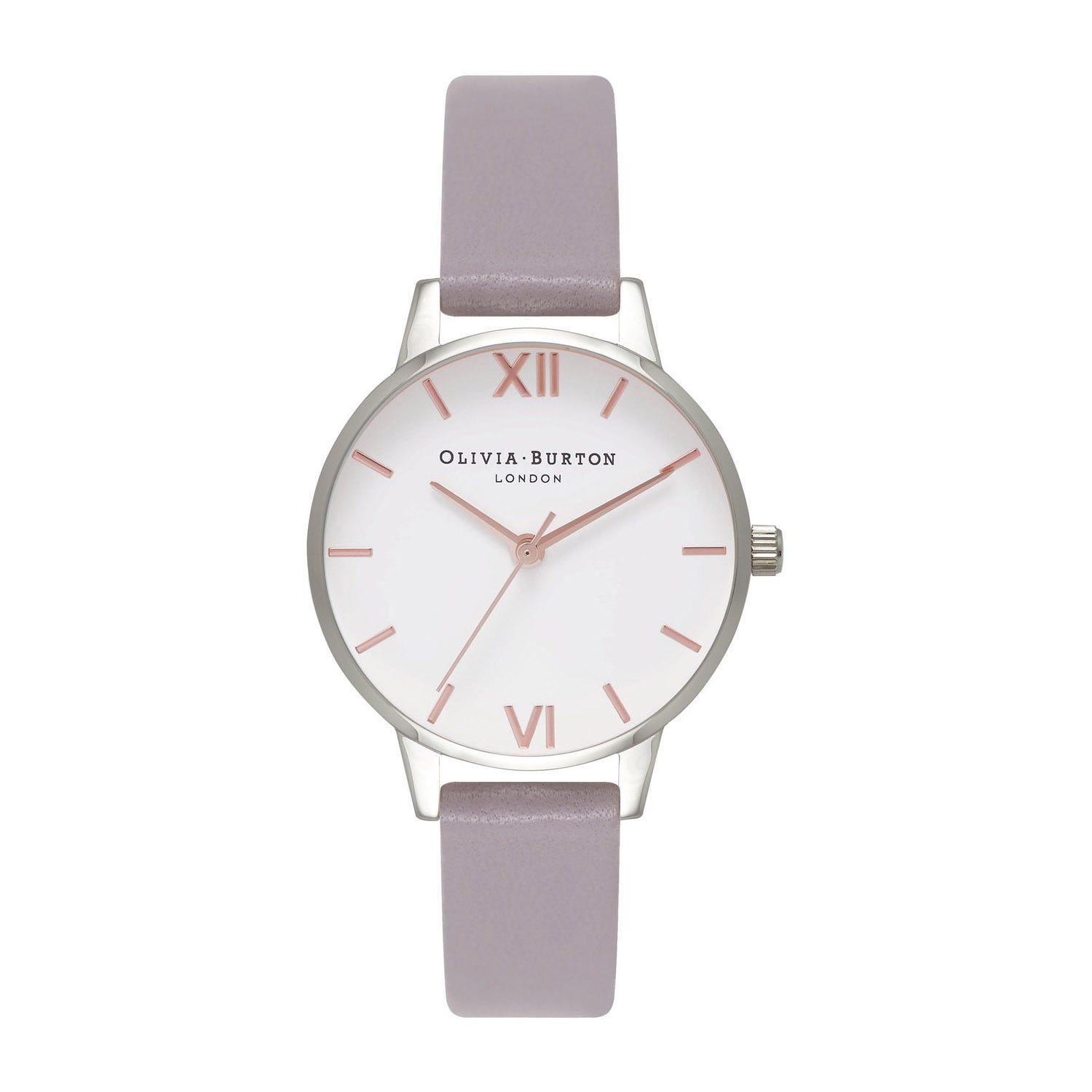 Olivia Burton White Dial & Lilac Leather Strap Ladies Watch