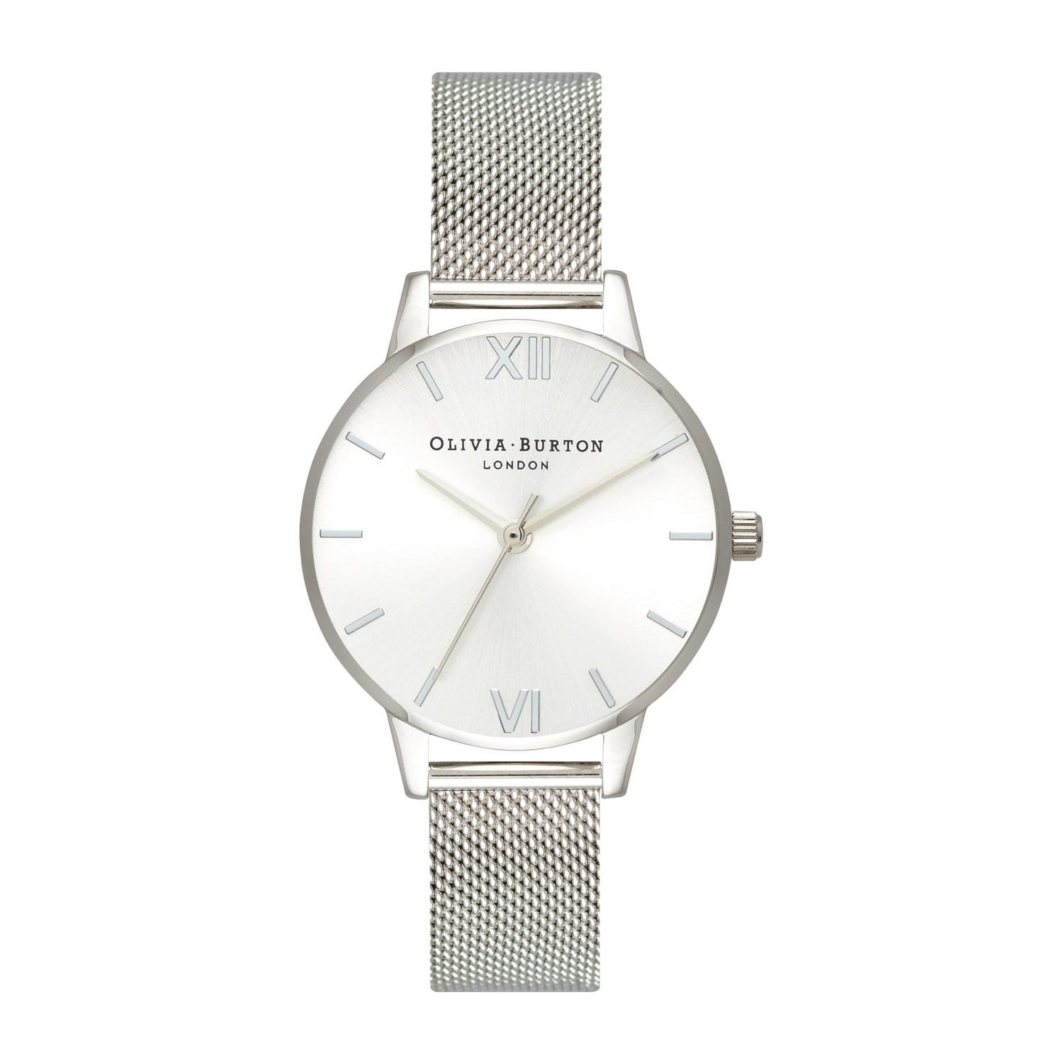 Olivia Burton Sunray Dial Silver-Toned Mesh Ladies Watch