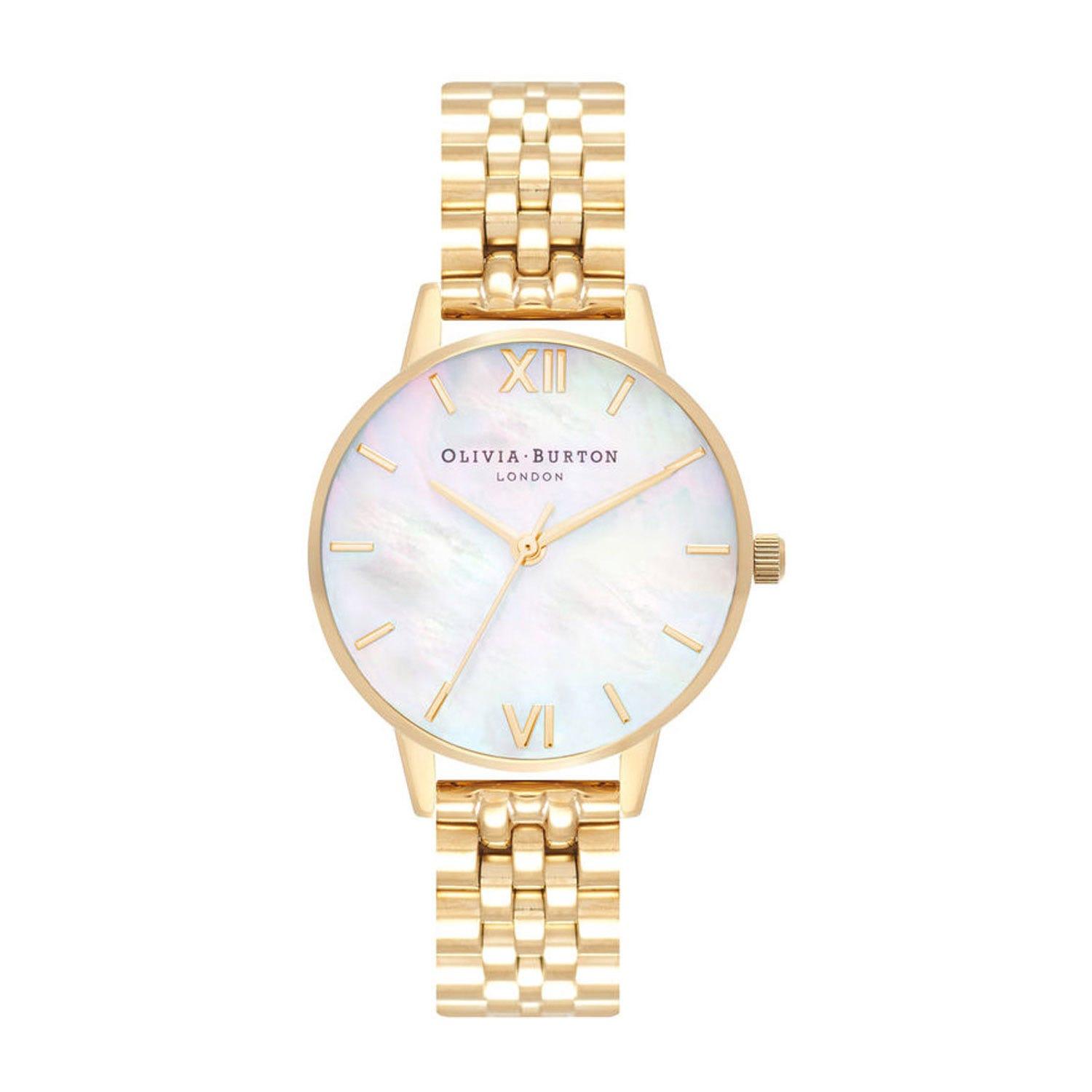 Olivia Burton Mother Of Pearl Yellow Gold-Toned Ladies Watch