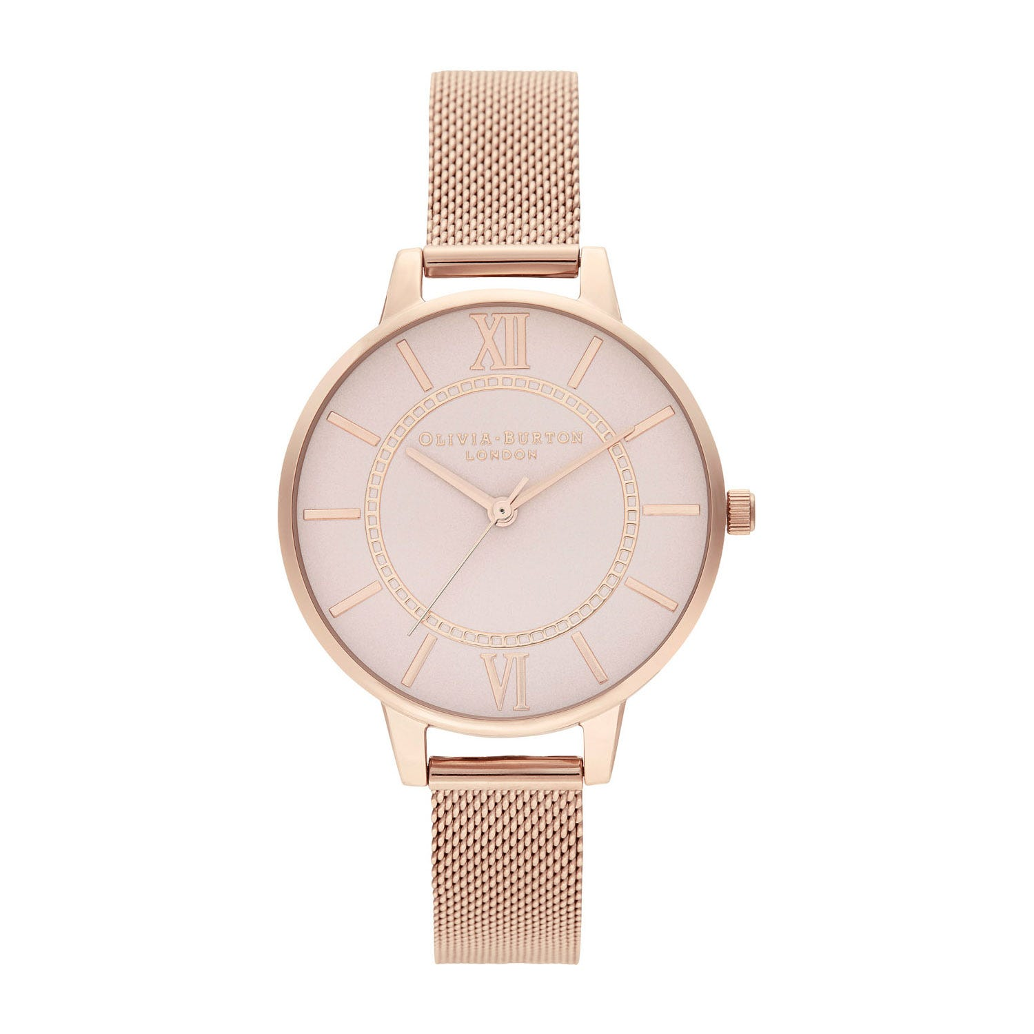 Olivia Burton Wonderland Rose Gold-Toned & Pale Grey Dial Ladies Watch