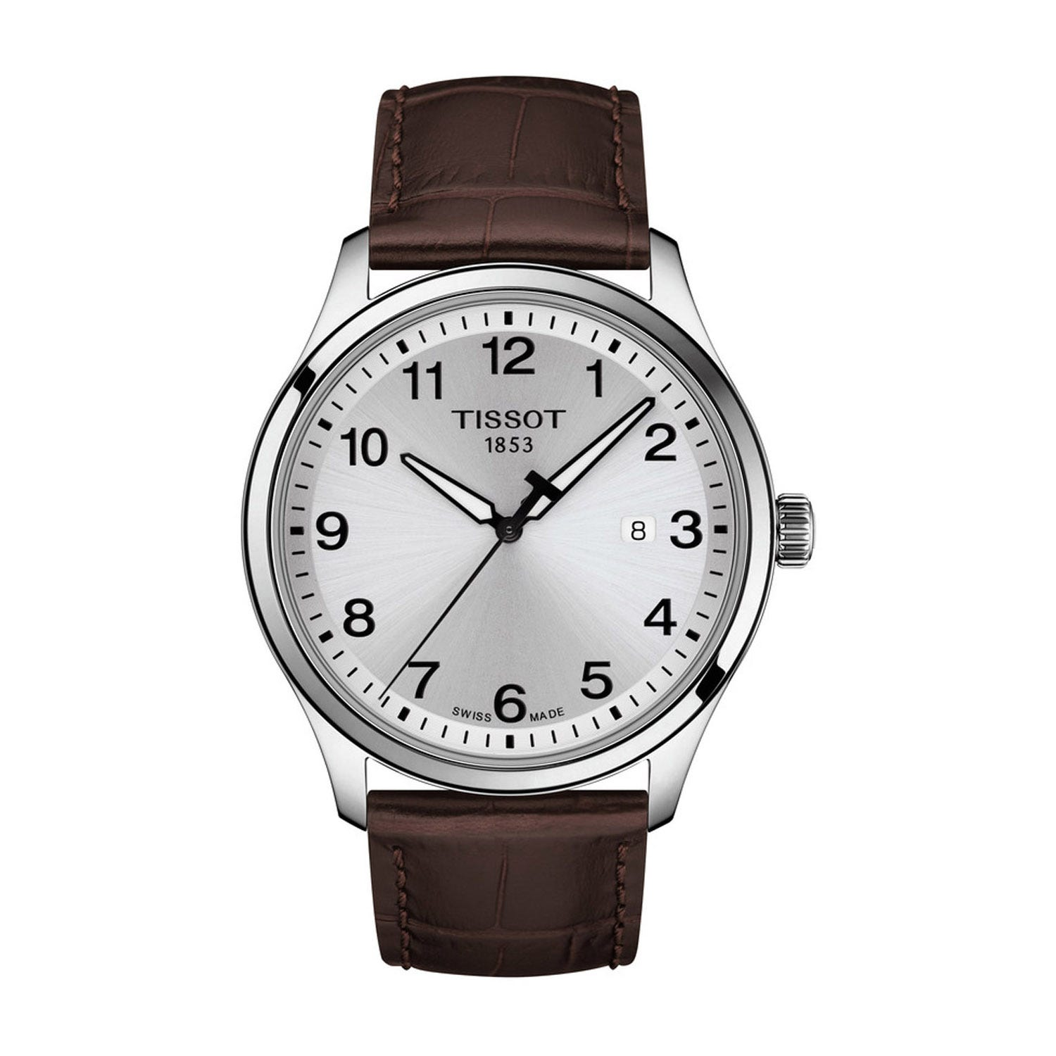 Tissot T-Classic Gents XL 42mm Steel & Brown Leather Watch