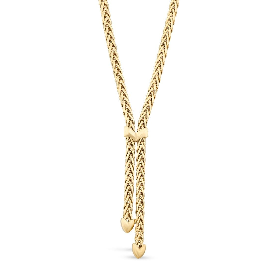 9ct Yellow Gold Herringbone Polished Tassel Necklet