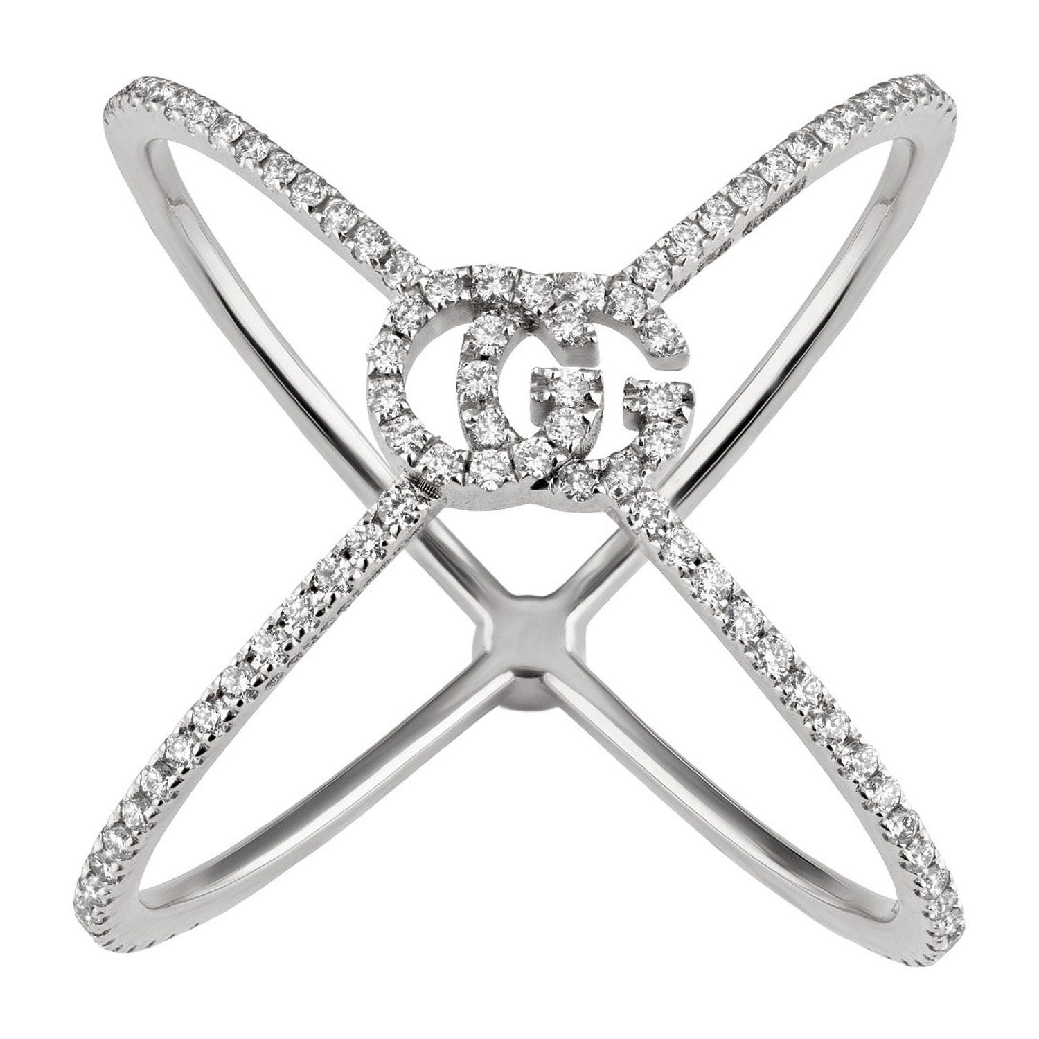 Gucci GG Running 18ct White Gold Diamond 'X' Ring