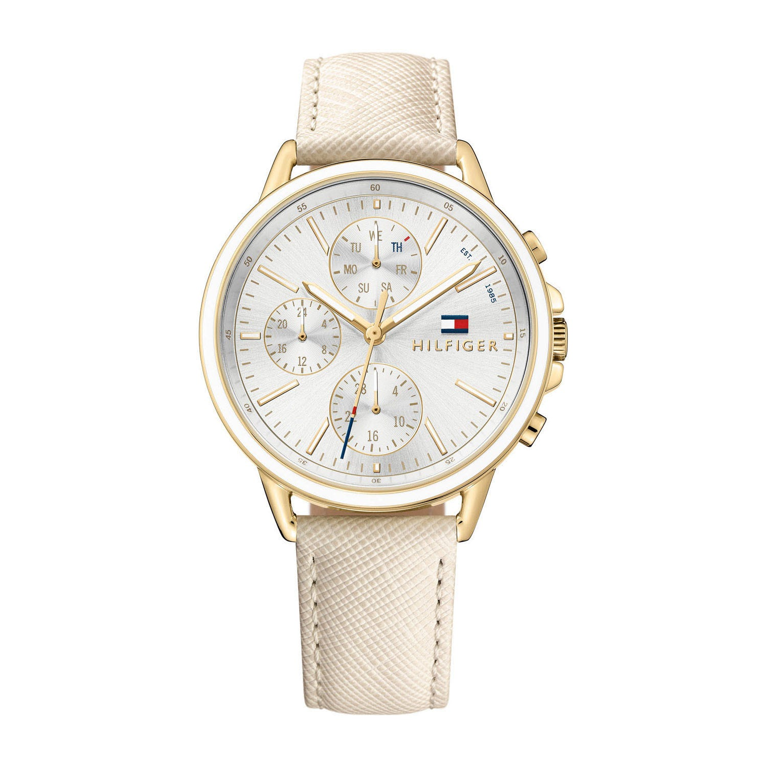Tommy Hilfiger Silver-Tone Chronograph & Leather Strap Ladies' Watch