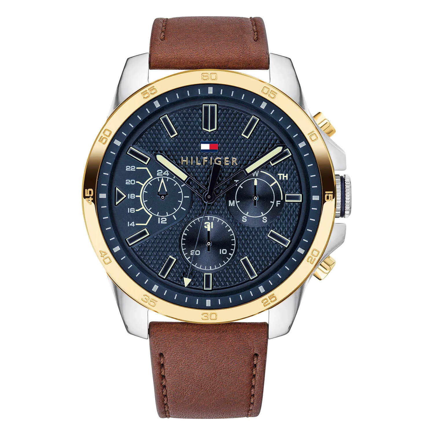 Tommy Hilfiger Chronograph Blue Dial & Gold-Tone Bezel Men's Watch