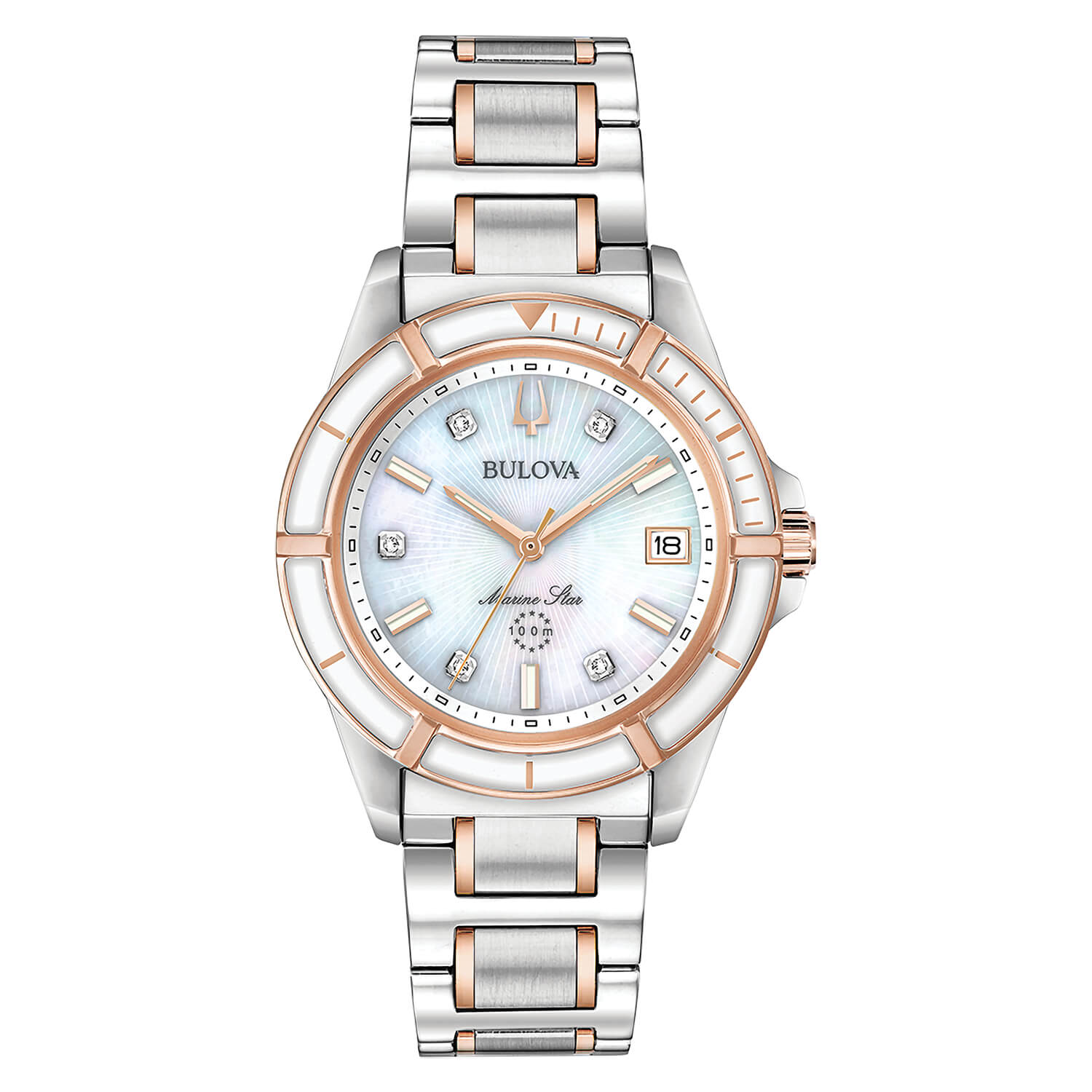 Bulova Marine Star 34mm Mother Of Pearl Dial Bracelet Watch