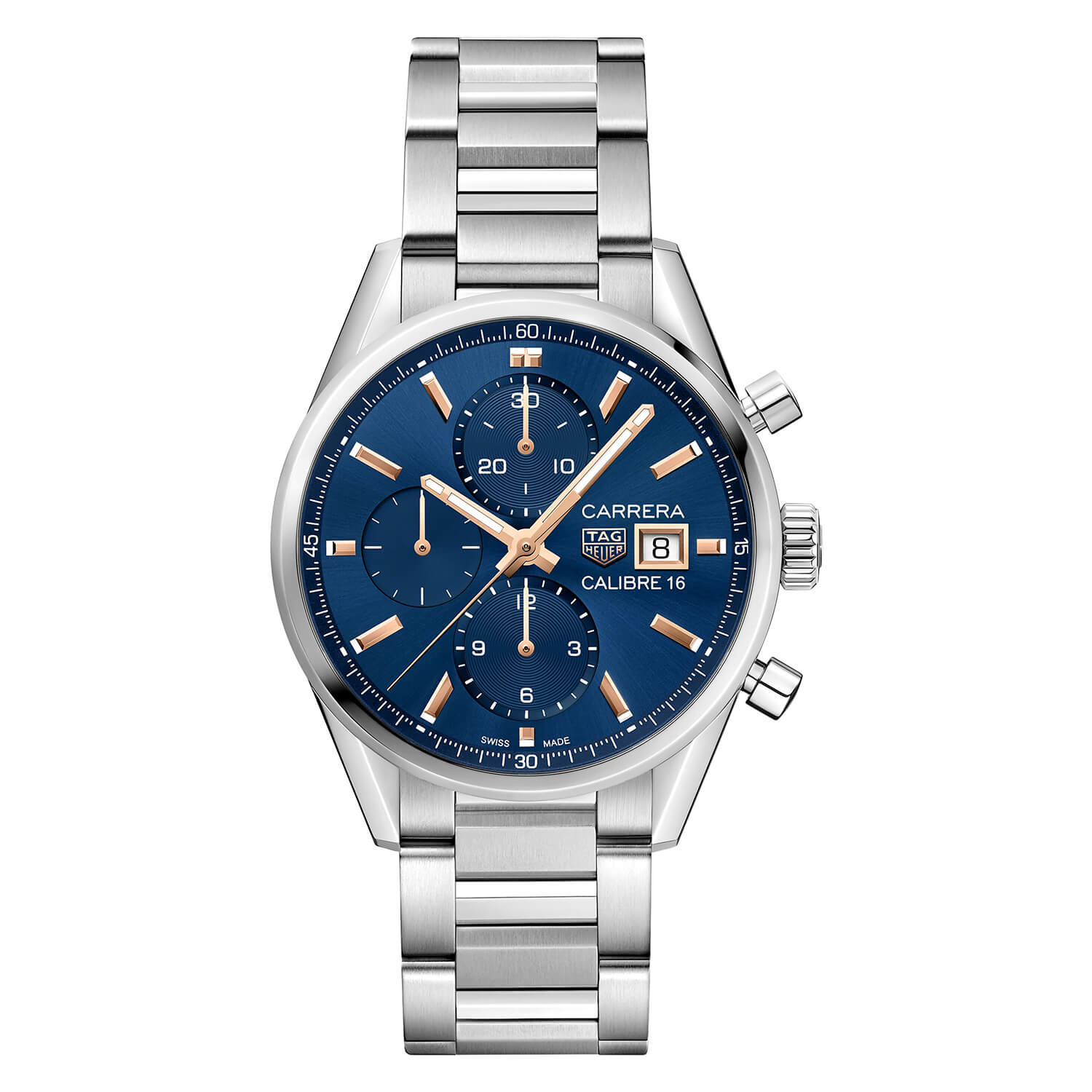 TAG Heuer Carrera Blue Chronograph Dial & Stainless Steel Bracelet 41mm Watch