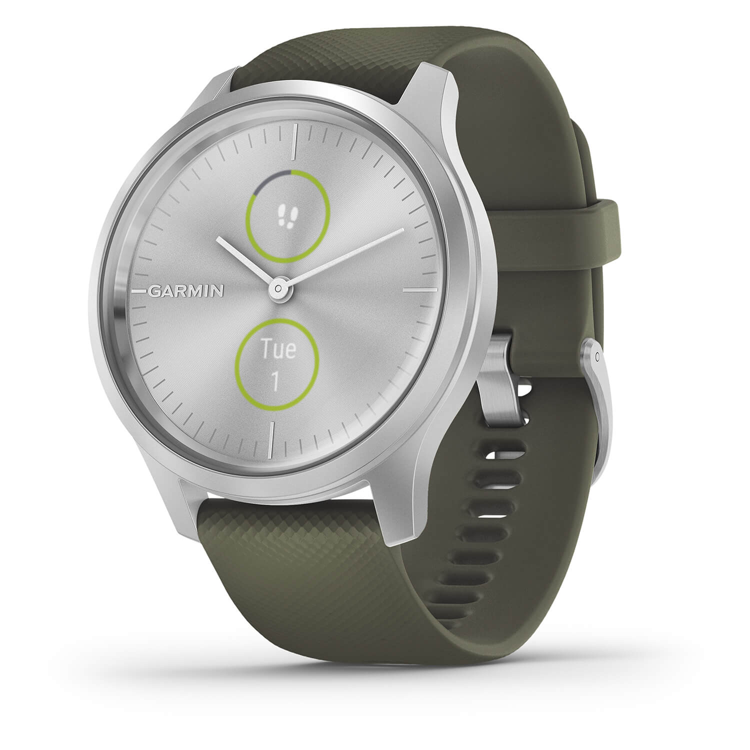 Garmin Vivomove Style Steel Case Moss Silicone Band Ladies Watch
