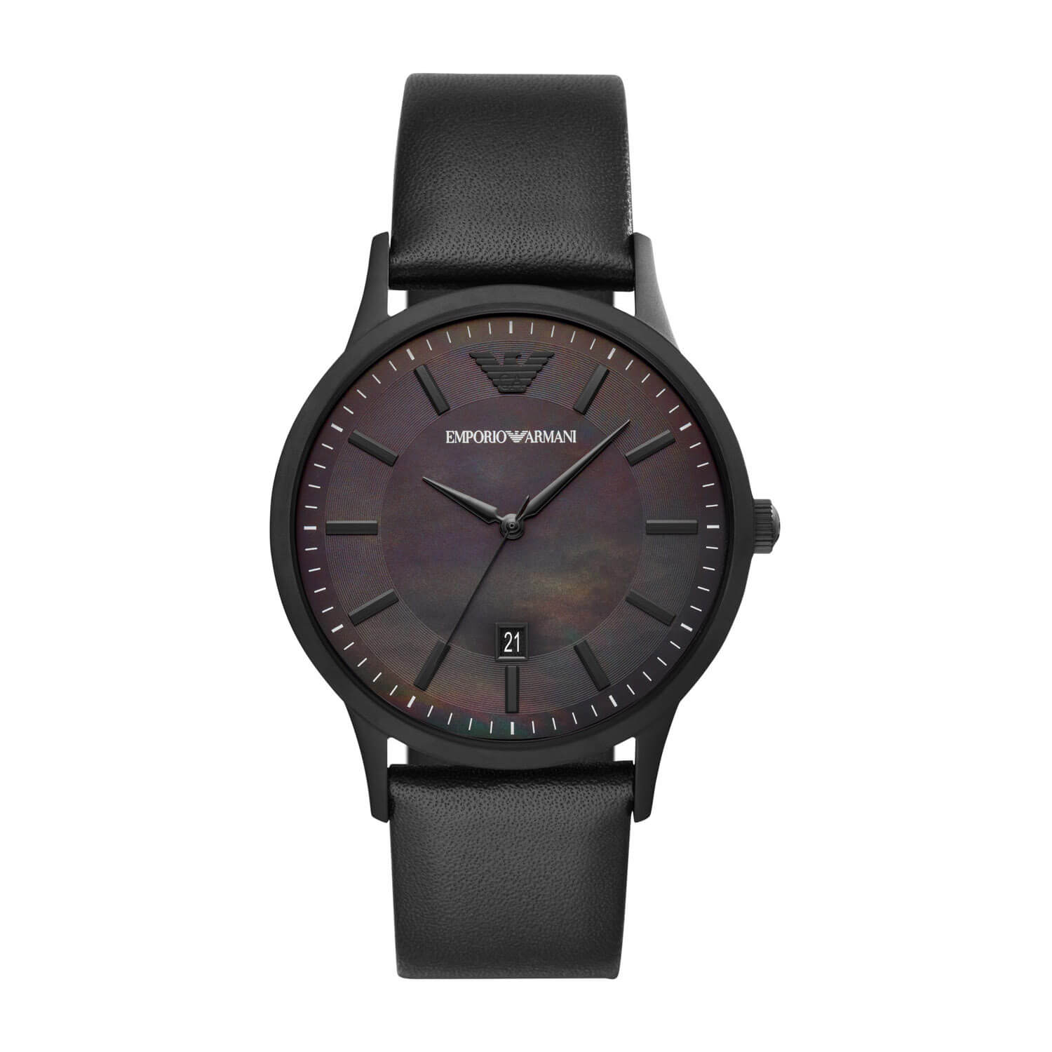 Emporio Armani Black Mother Of Pearl Dial & Black Leather 43mm Watch