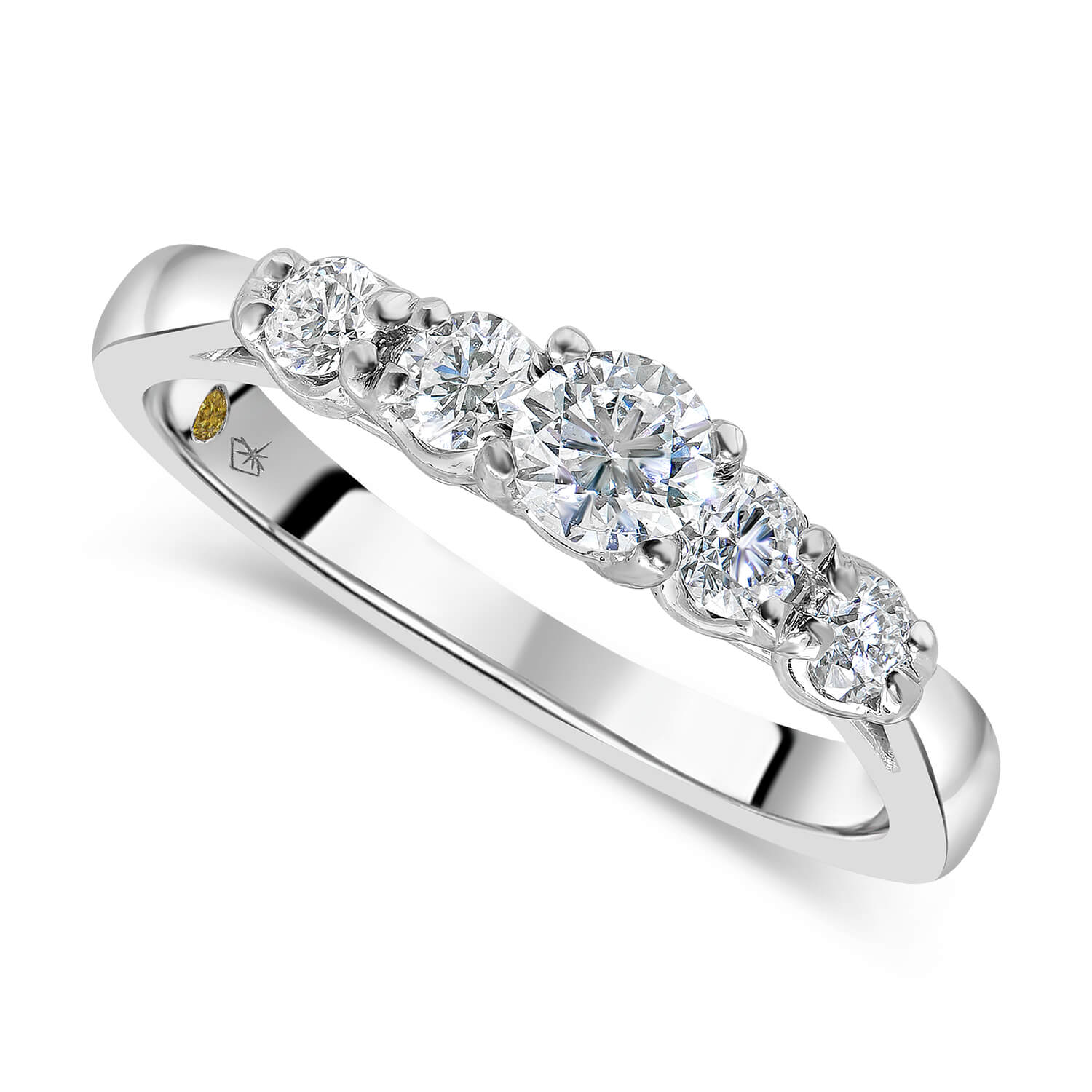 Northern Star 18ct White Gold 0.50ct Diamond Gradual Five Stone Ring