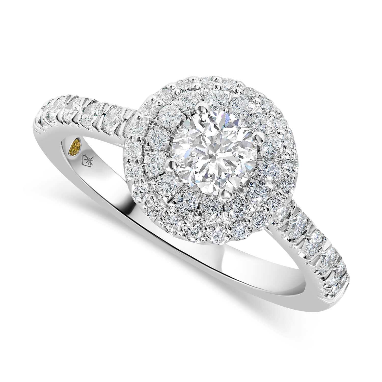 Northern Star 18ct White Gold 1.00ct Diamond Round Double Halo & Shoulders Ring