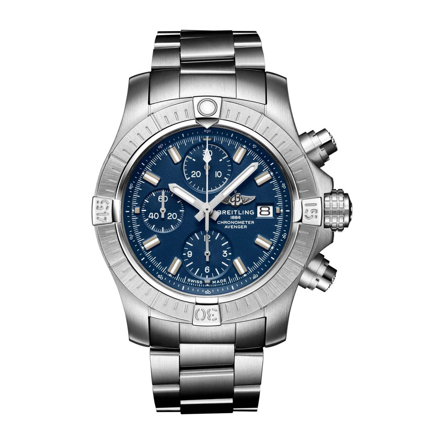 Breitling Avenger 43mm Chronograph Blue Dial Steel Case Bracelet Watch