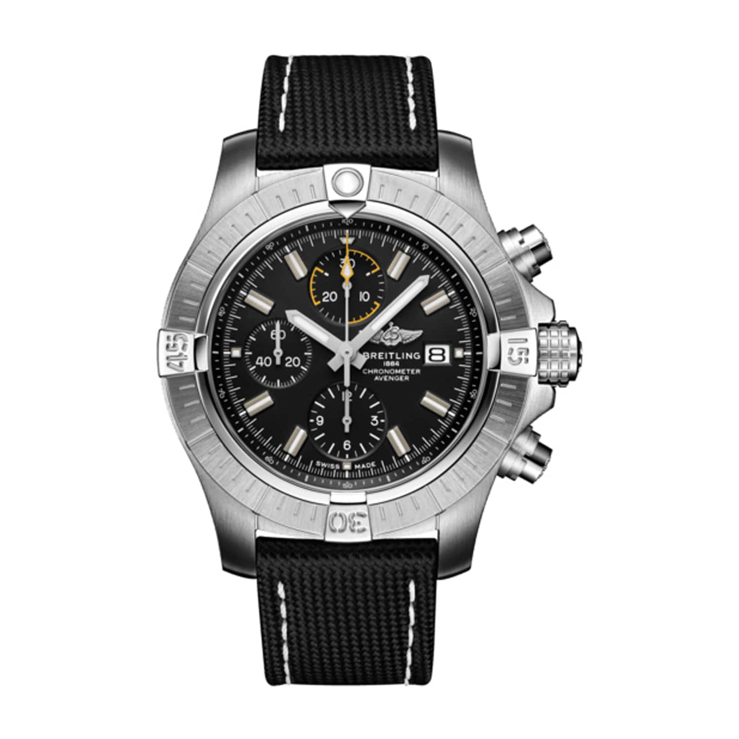 Breitling Avenger Chronograph Black Dial & Black Leather 45mm Watch