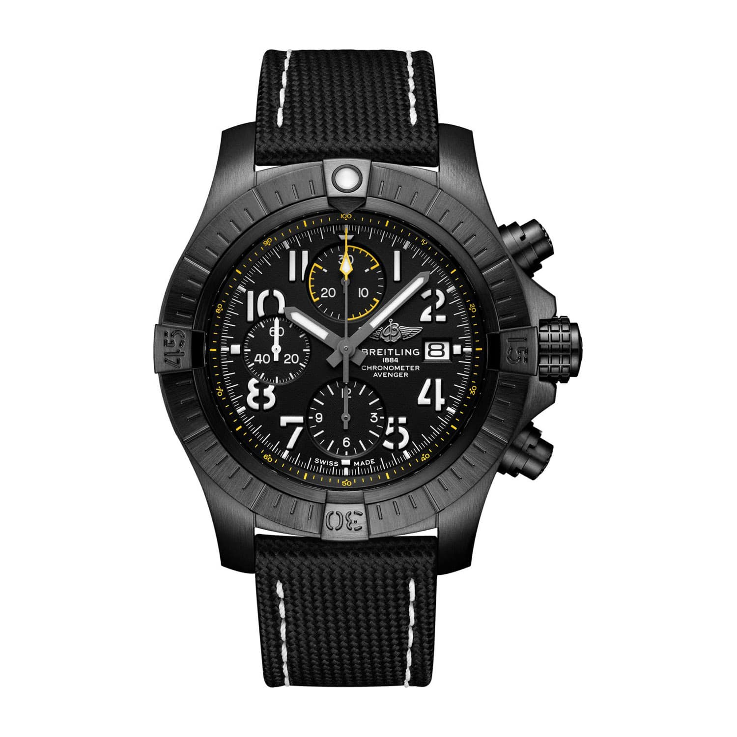 Breitling Avenger 45mm Chronograph Night Mission Black Titanium Case Watch