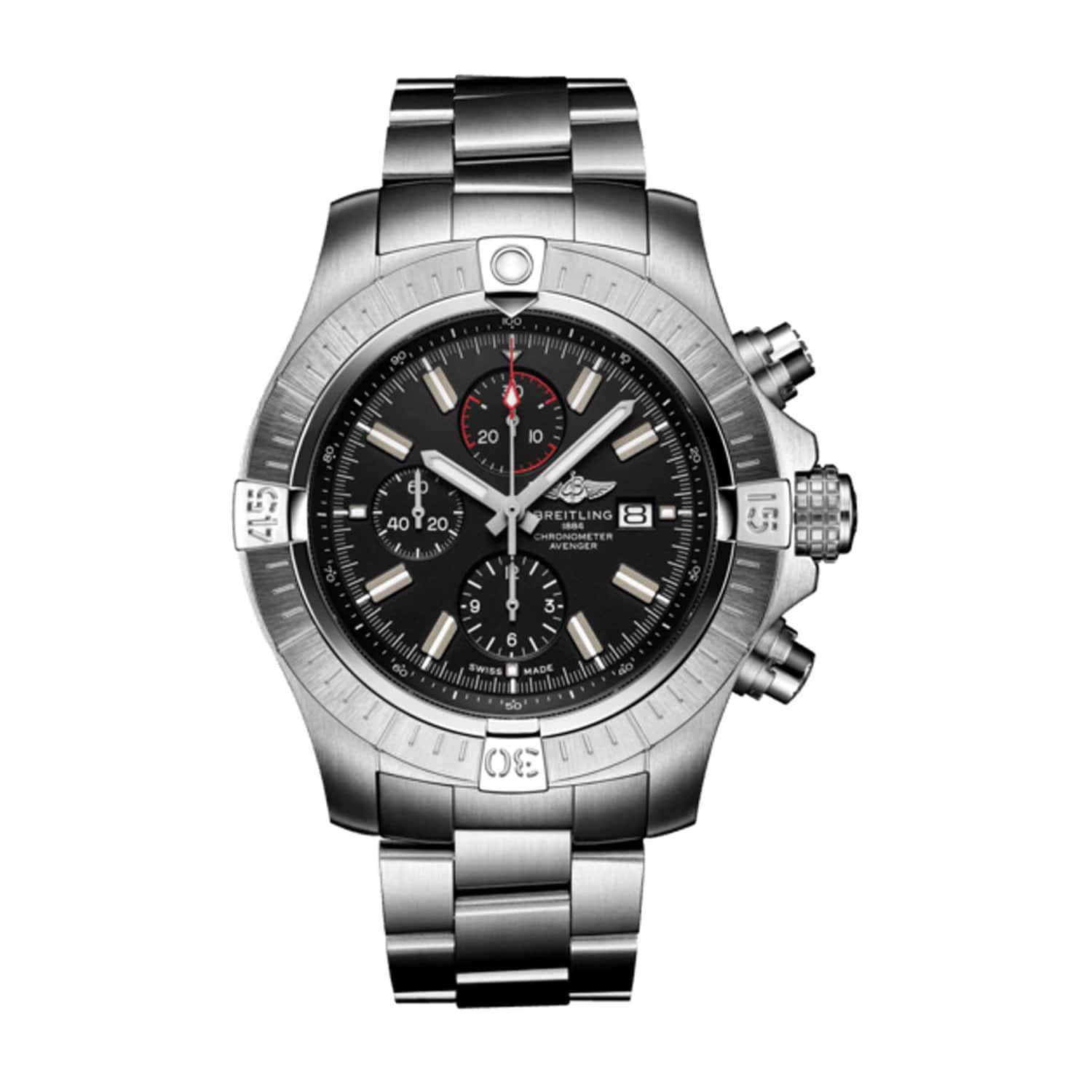 Breitling Super Avenger 48mm Chronograph Black Dial Bracelet Watch