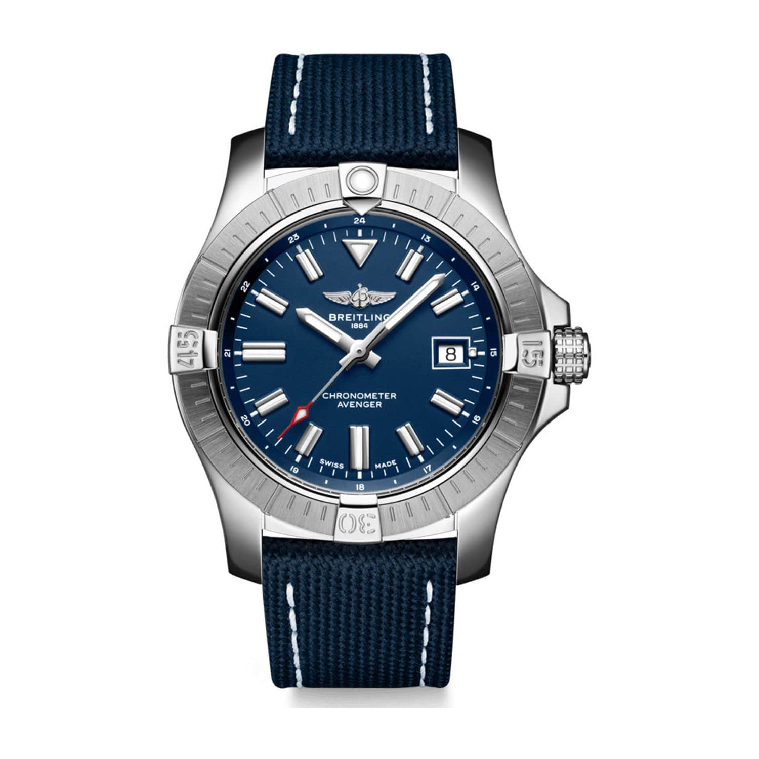 Breitling Avenger 43mm Blue Dial Steel Case Blue Strap Watch