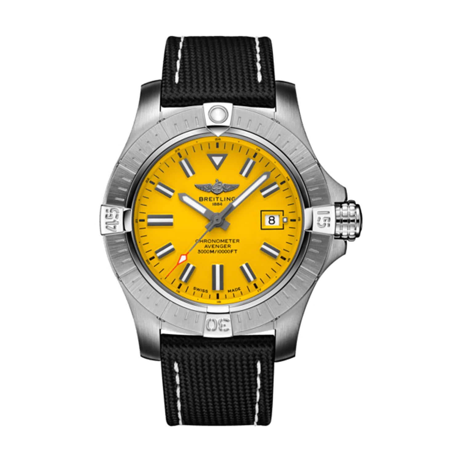 Breitling Avenger 45mm Seawolf Yellow Dial Steel Case Black Strap Watch