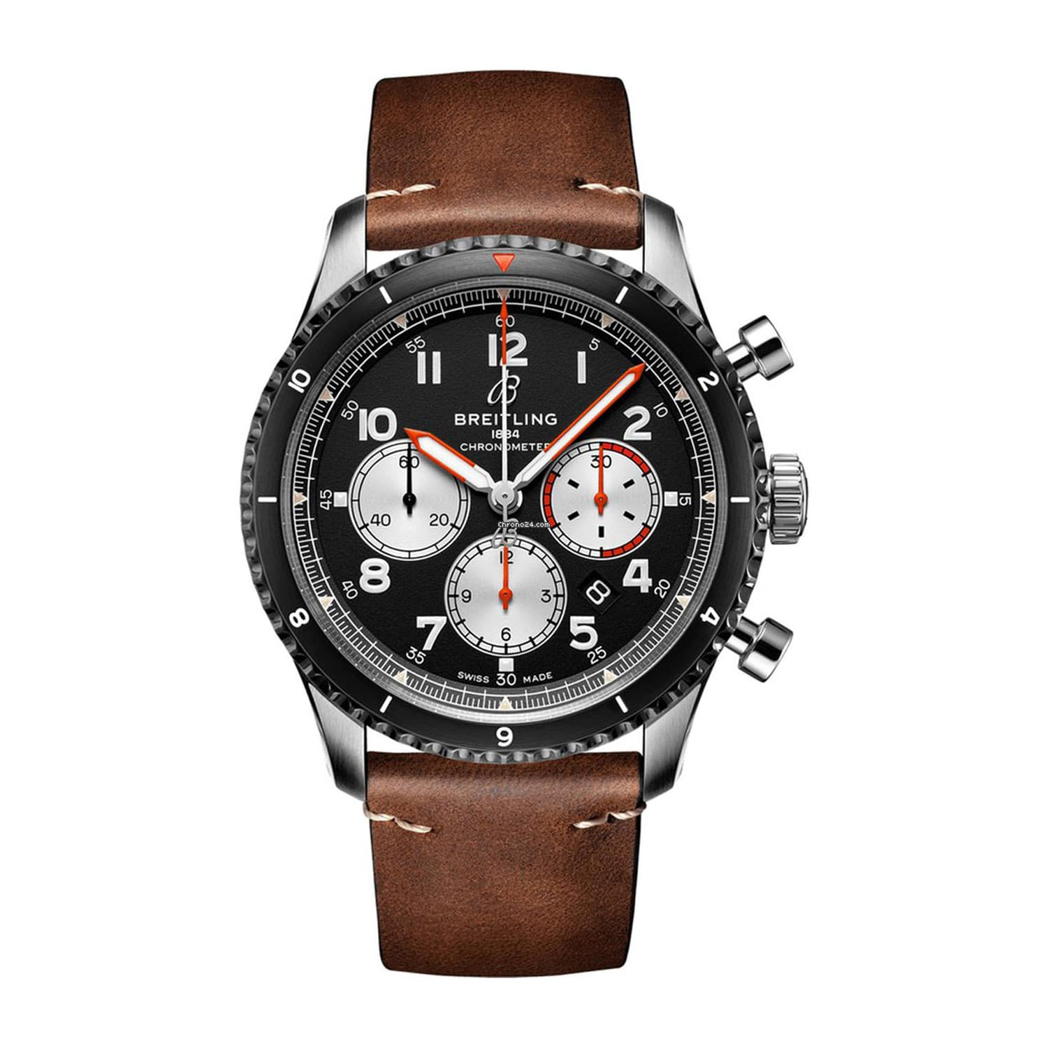 Breitling Aviator 8 43mm Mosquito Chronograph Steel Case Brown Strap Watch