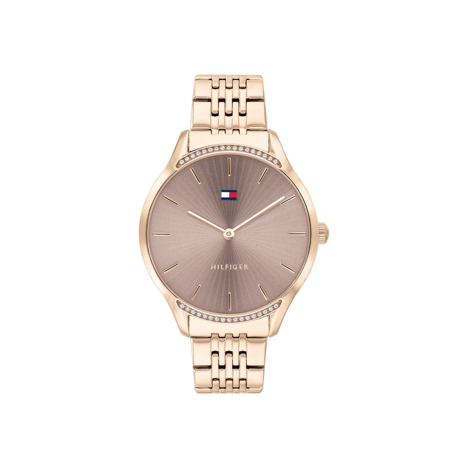 Tommy Hilfiger Gray Ladies Rose Gold Plated Stainless Steel Strap Taupe Dial Watch