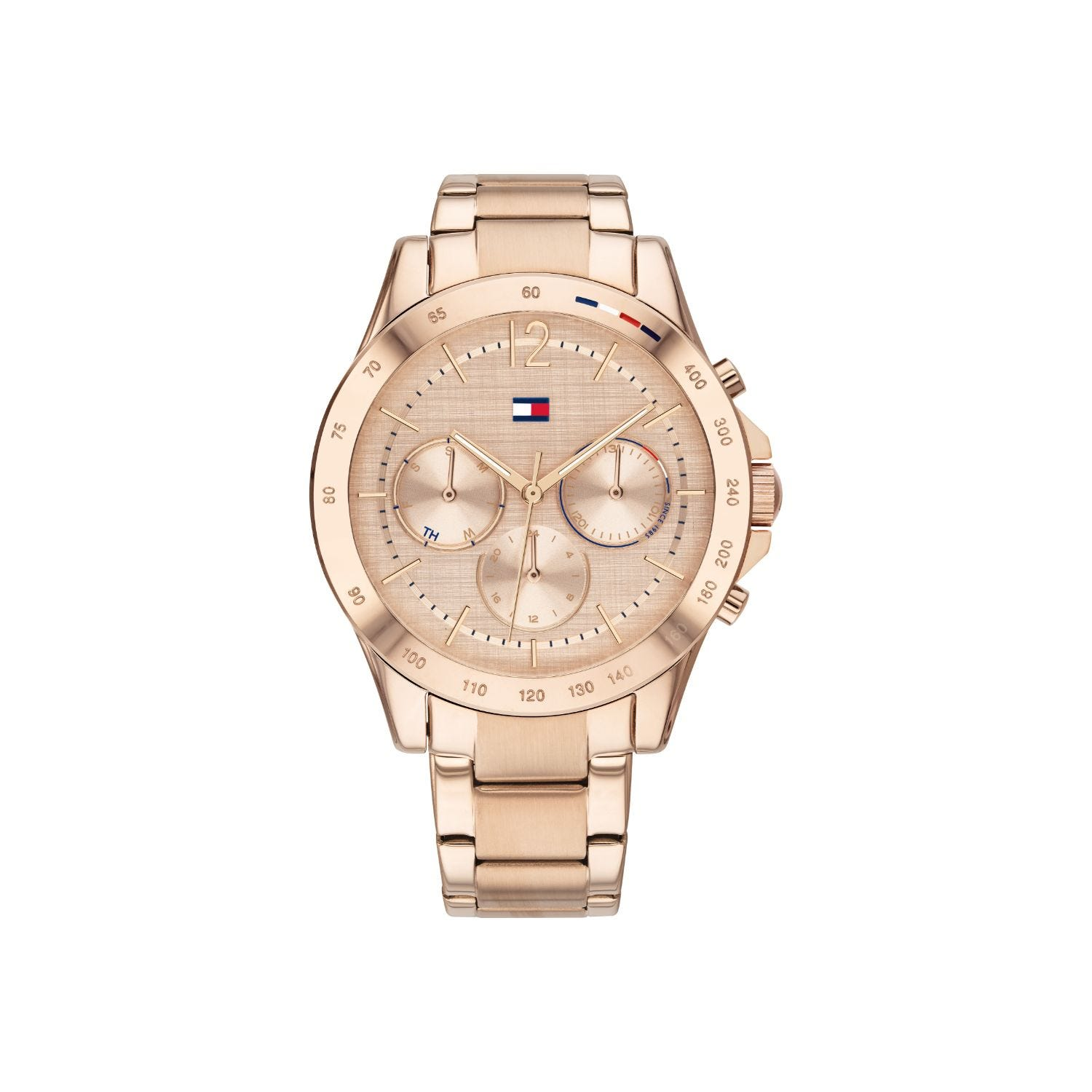 Tommy Hilfiger Haven Ladies Rose Gold Plated Stainless Steel Strap Pink Dial Watch