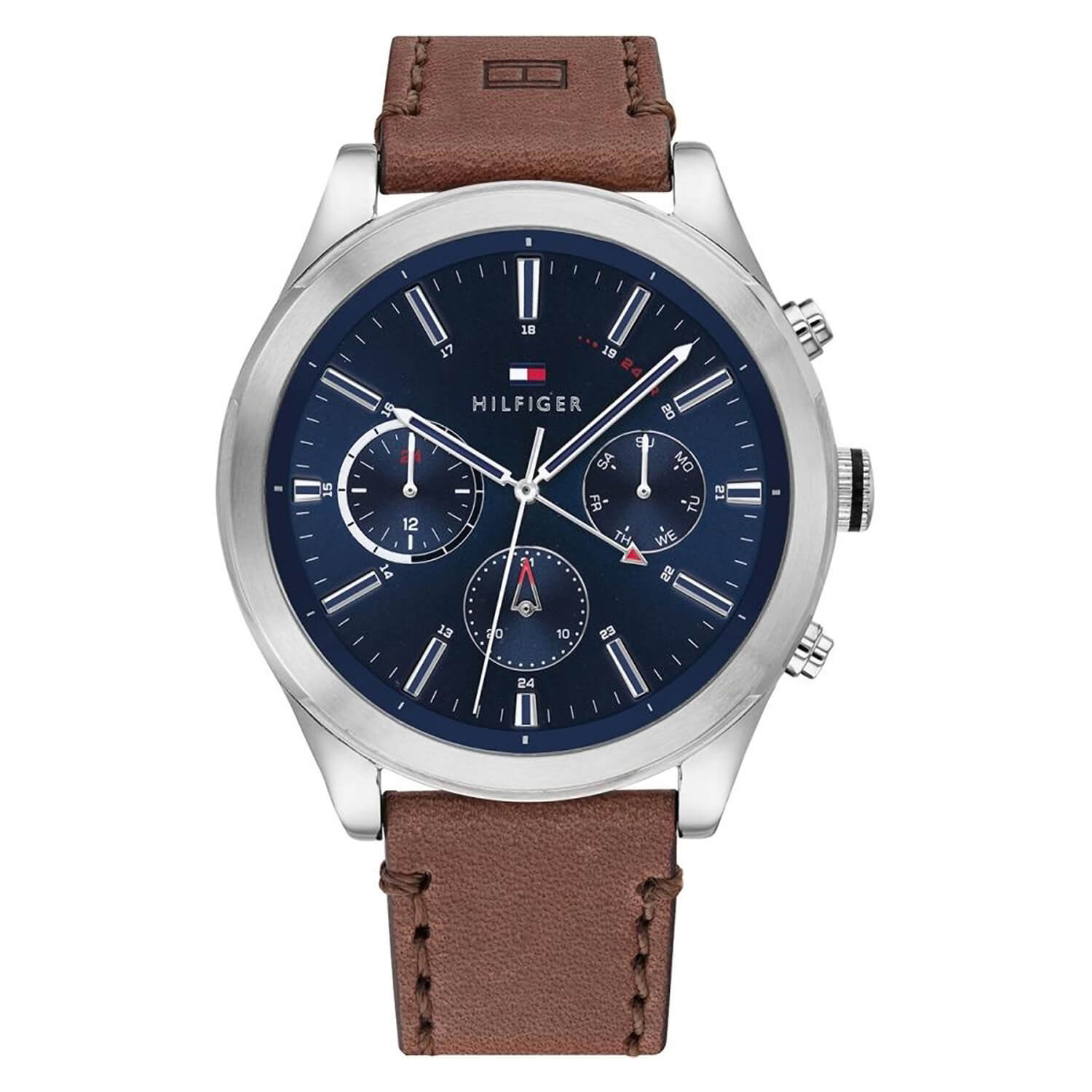 Tommy Hilfiger Ashton Mens Leather Strap Black Dial Watch
