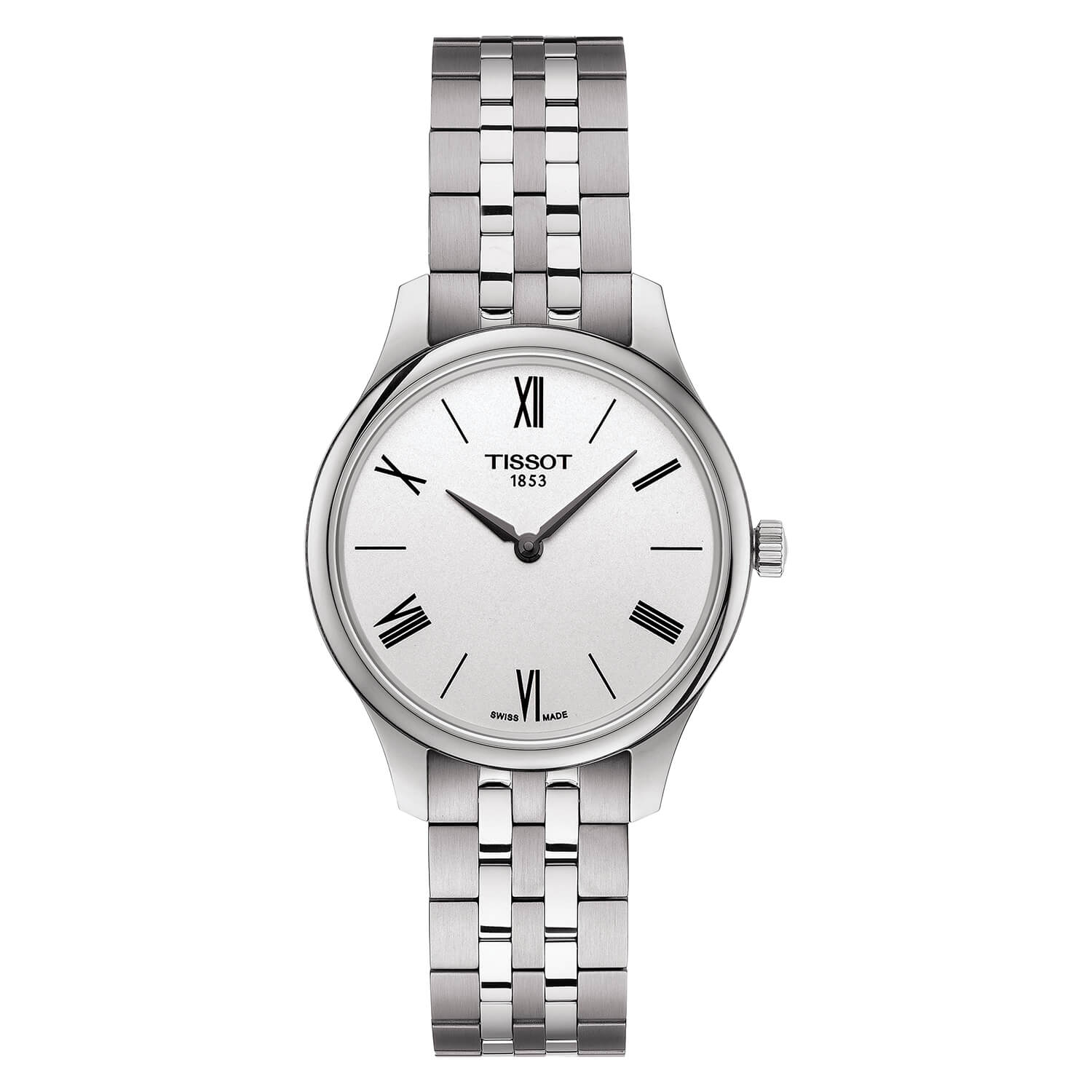 Tissot Tradition 31mm White Dial Roman Numerals Steel Case Bracelet Watch