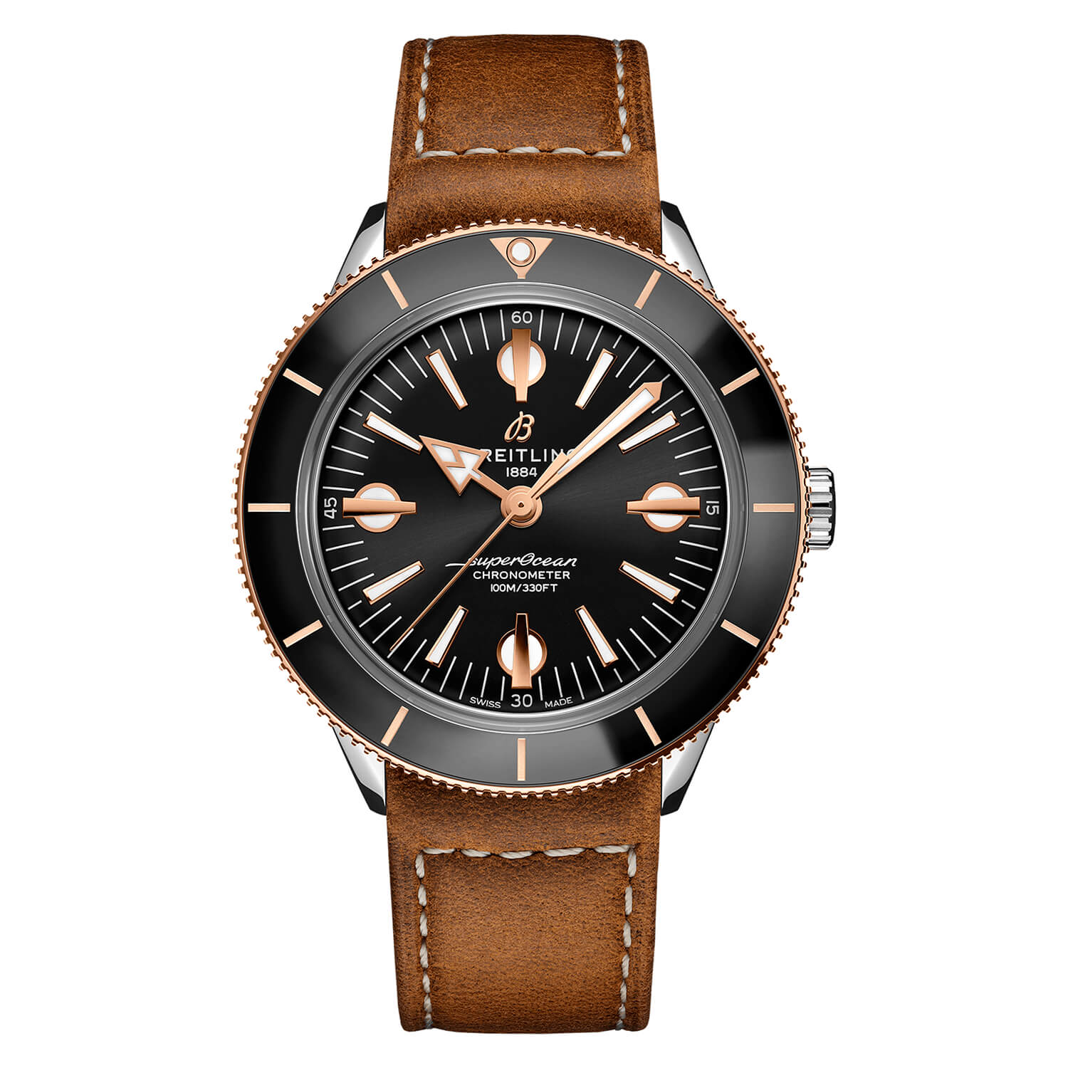 Breitling Superocean Heritage '57 Black Dial With 18K Rose Gold 42mm Automatic Brown Strap Watch