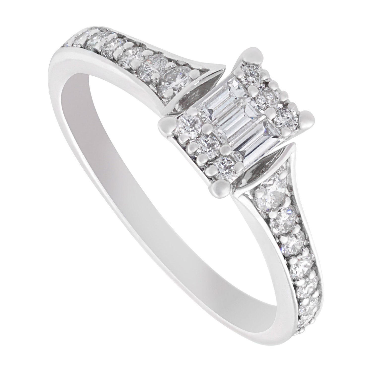 9ct white gold 0.44 carat baguette and round diamond ring